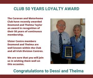 50 yr Award to Desmond and Thelma Taylor