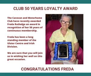 Club 50 yrs Loyalty Award to Freda Rutledge